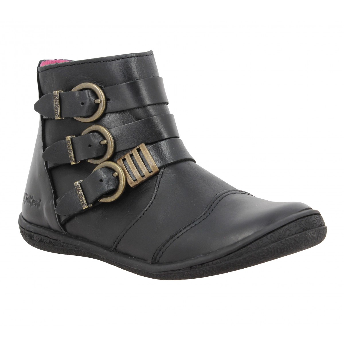Bottines KICKERS Calinou cuir Enfant Noir