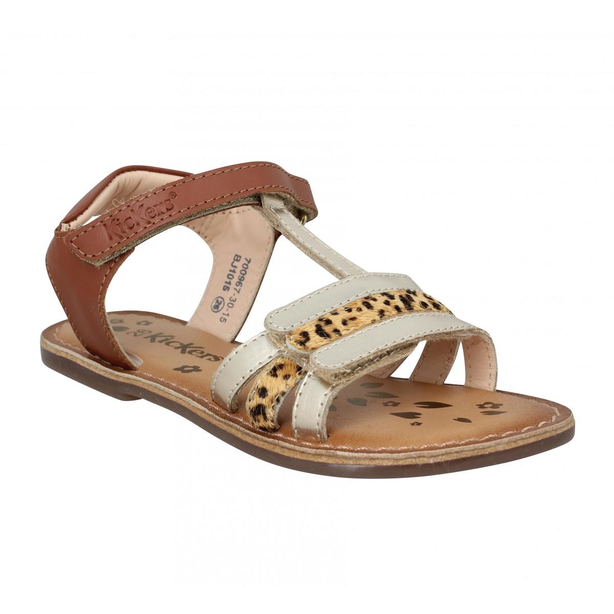 Sandales KICKERS Diamanto cuir Enfant Camel Leopard