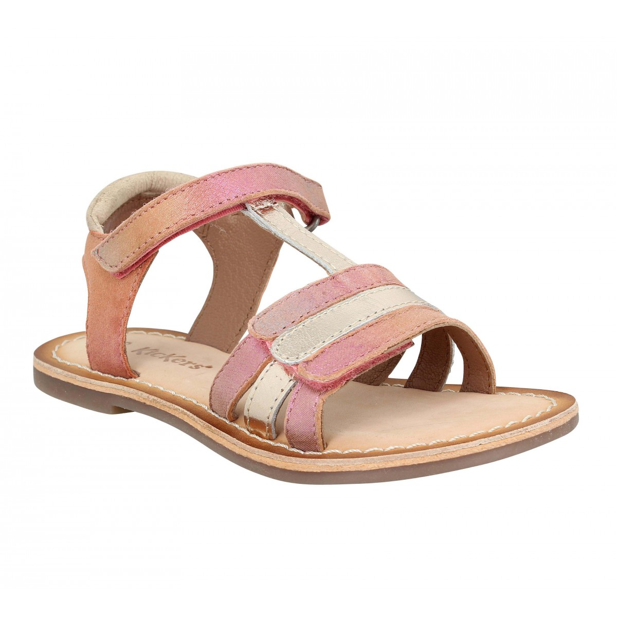 Sandales KICKERS Diamanton cuir Enfant Rose