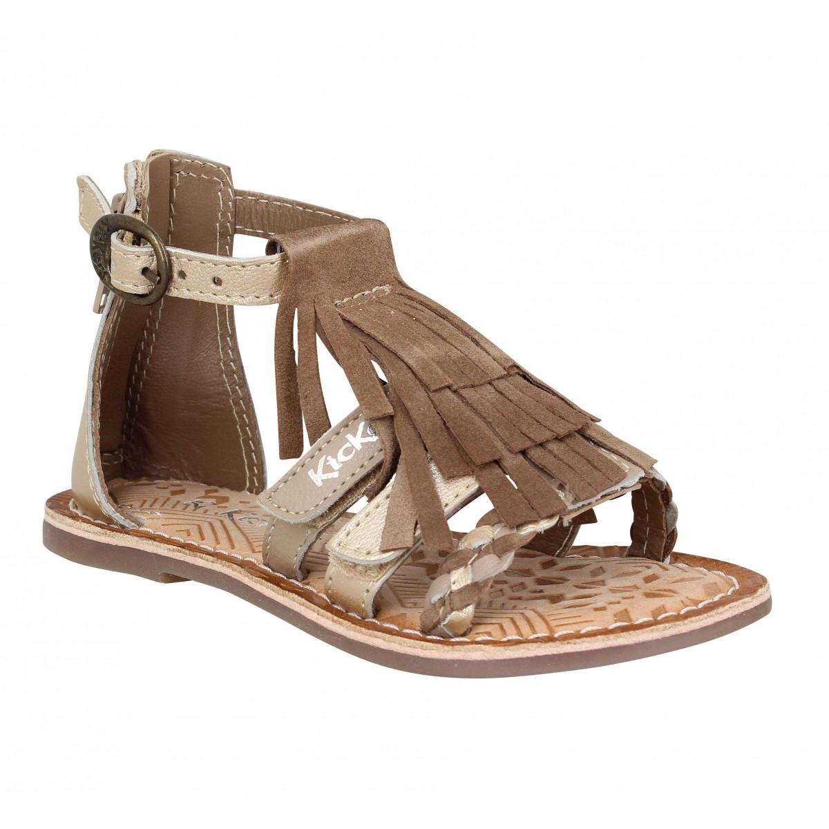 Sandales KICKERS Diatribe cuir Enfant Camel