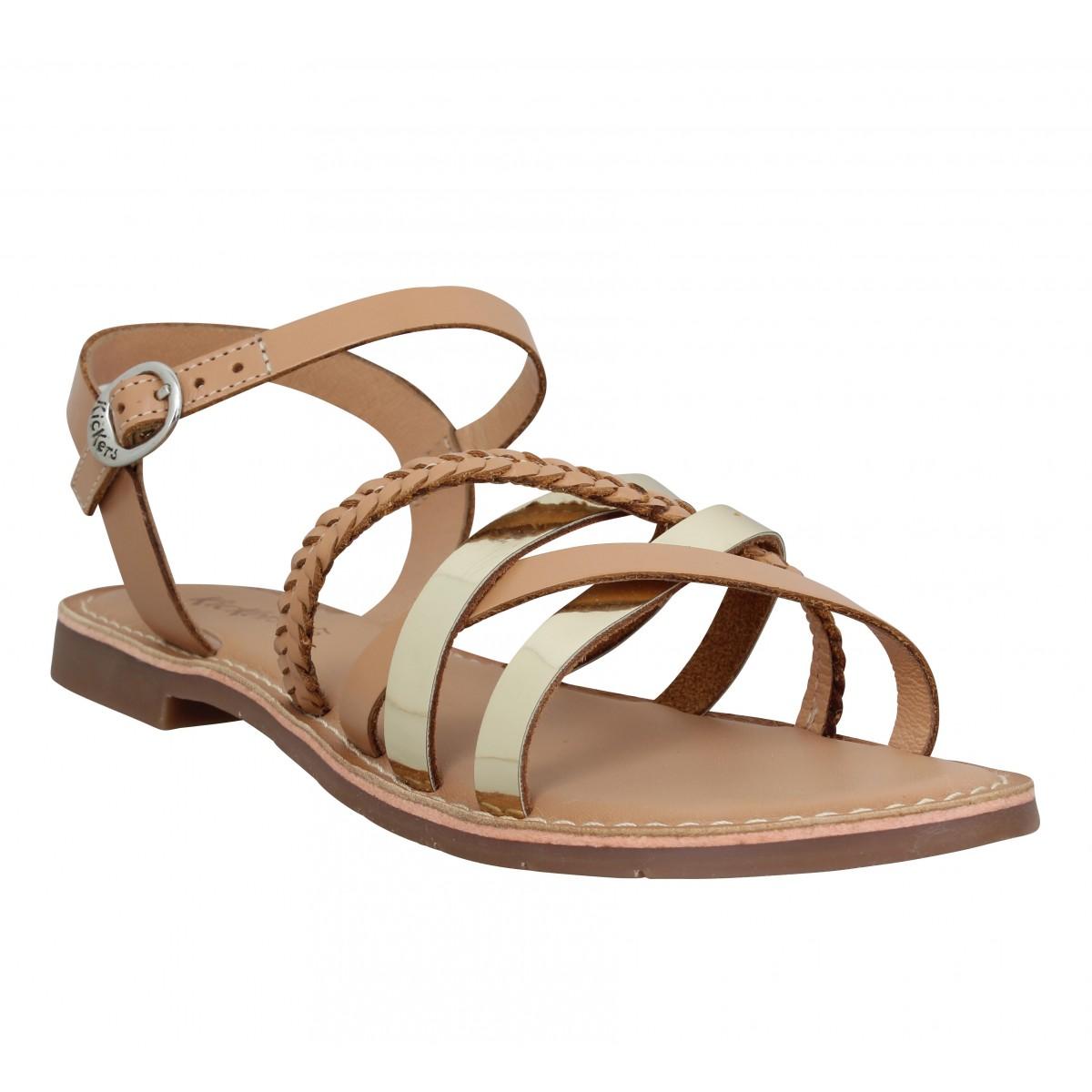 Nu-pieds KICKERS Estellie cuir Femme Camel Or