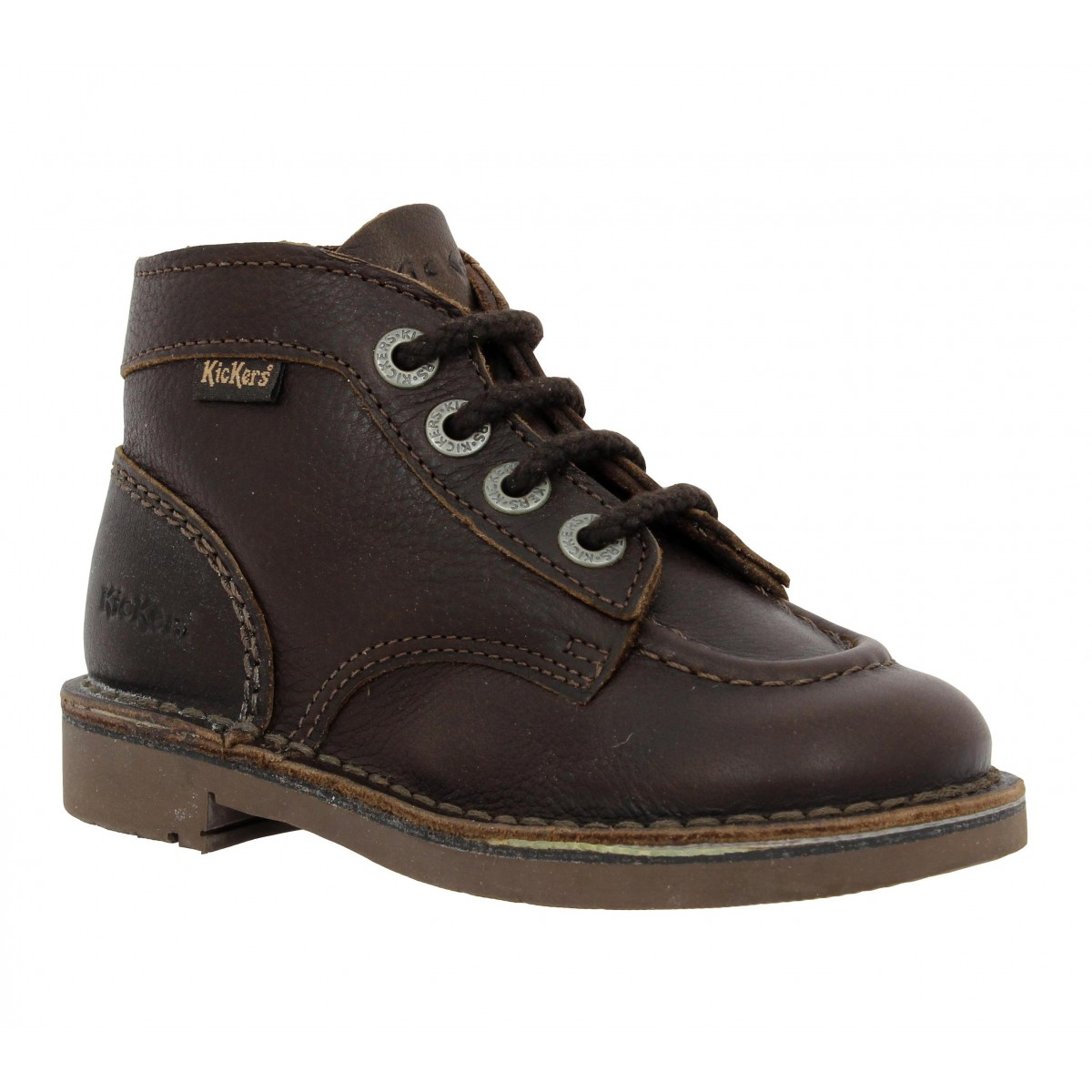 Bottines KICKERS Kick Col cuir Enfant Marron