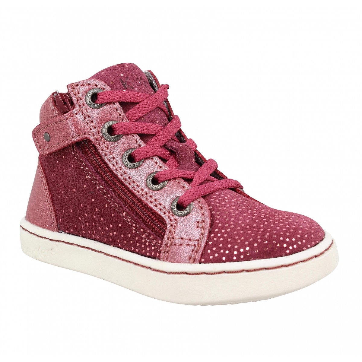 Baskets KICKERS Lyluby cuir Enfant Bordeaux Metal