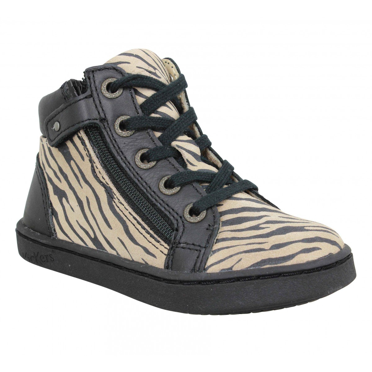 Baskets KICKERS Lyluby cuir Enfant Zebre