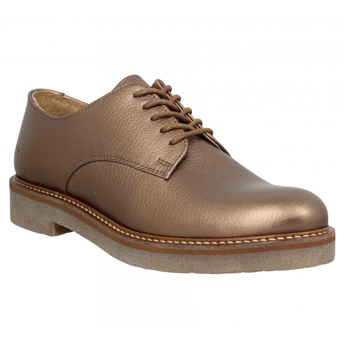 Chaussures à lacets KICKERS Oxfork cuir graine Femme Bronze