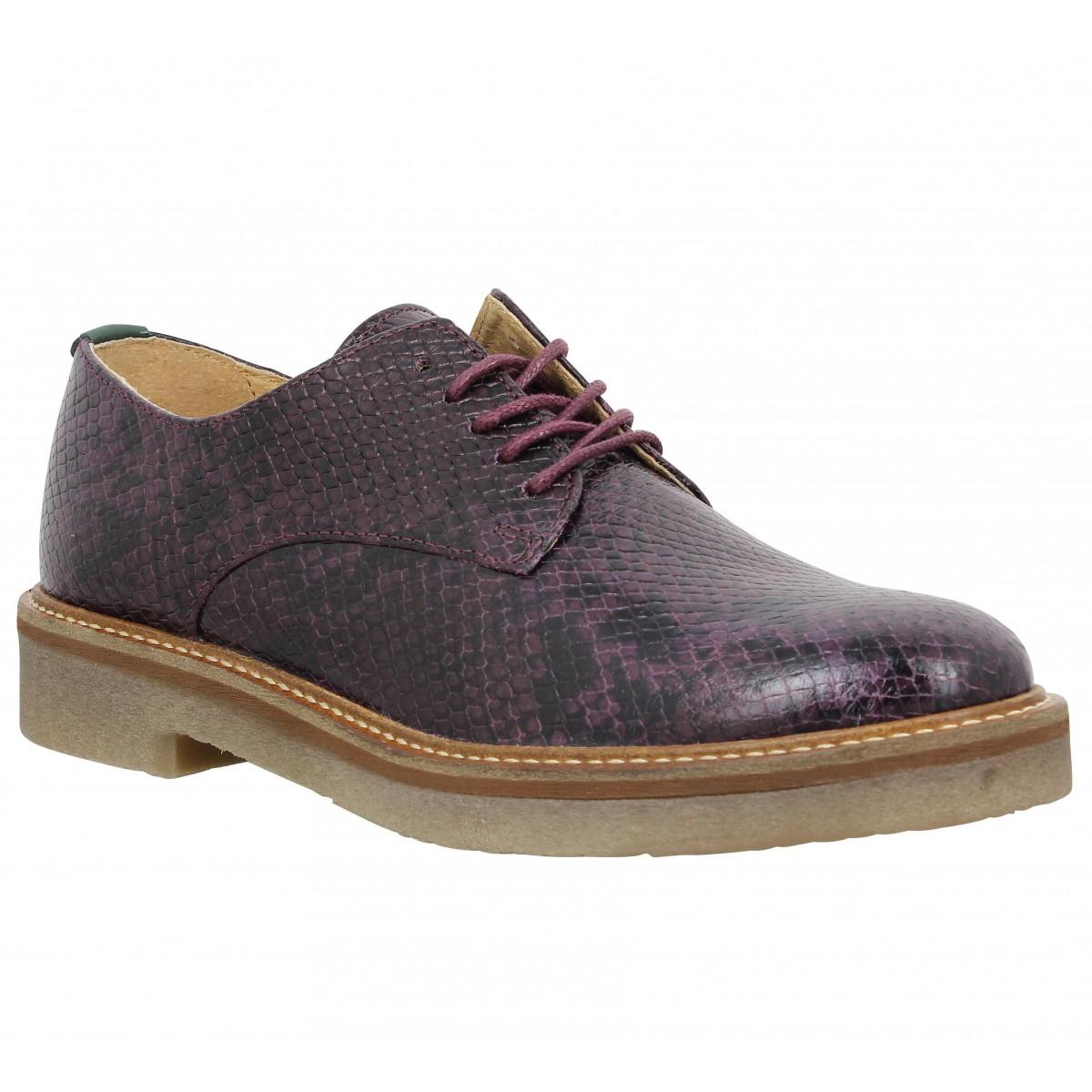 Chaussures à lacets KICKERS Oxfork python Femme Bordeaux