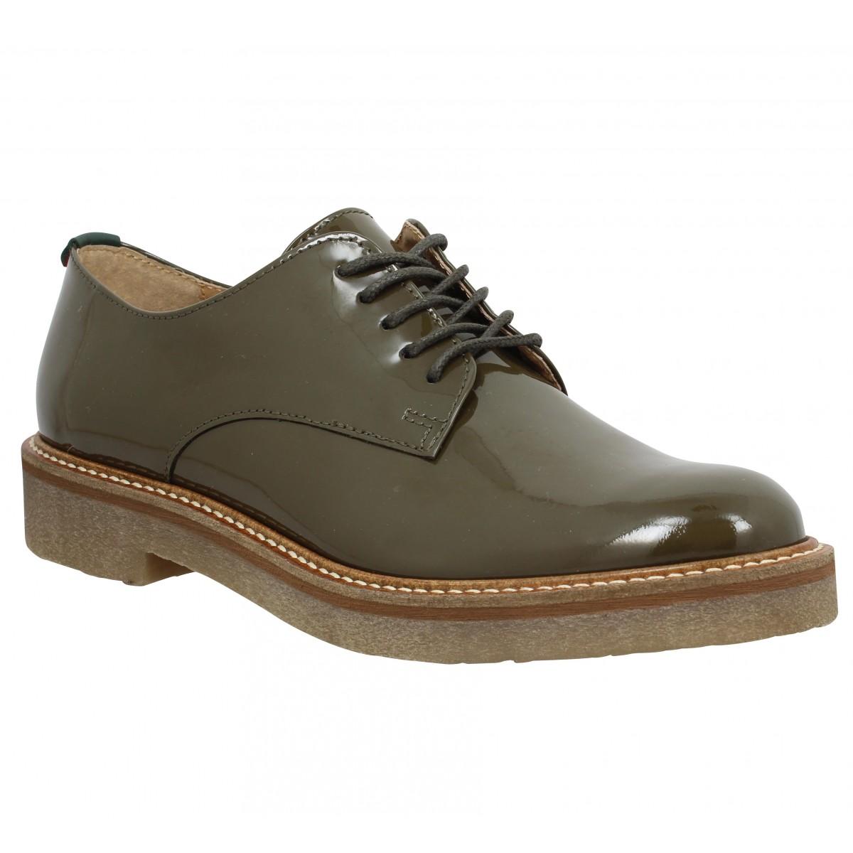 Chaussures à lacets KICKERS Oxfork vernis Femme kaki