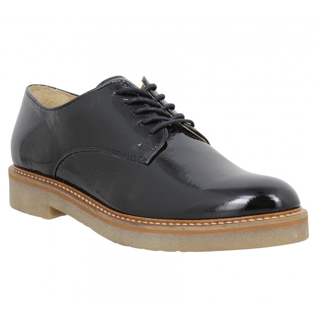 Chaussures à lacets KICKERS Oxfork vernis Femme Noir