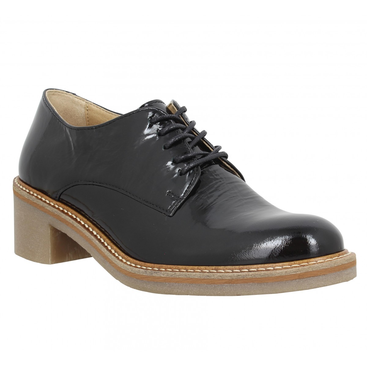 Chaussures à lacets KICKERS Oxyby vernis Femme Noir