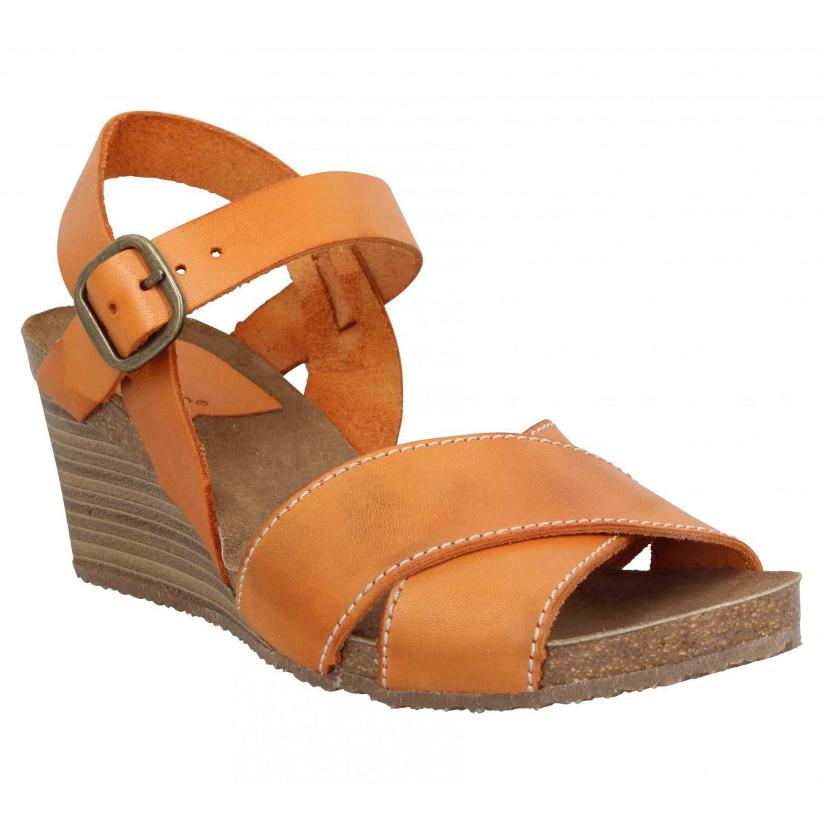 Compensées KICKERS Salambo cuir Femme Orange