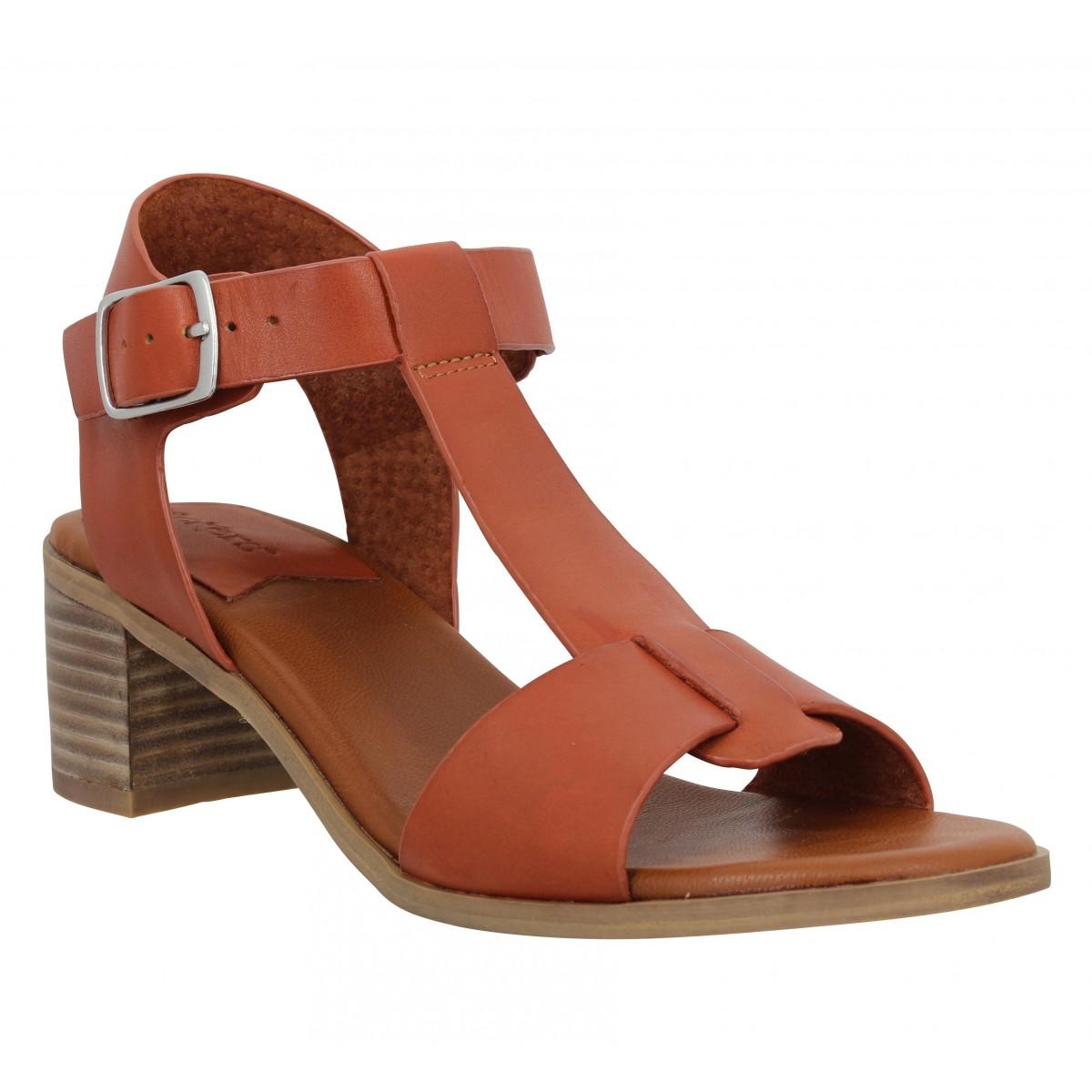 Sandales talons KICKERS Valmons cuir Femme Brique