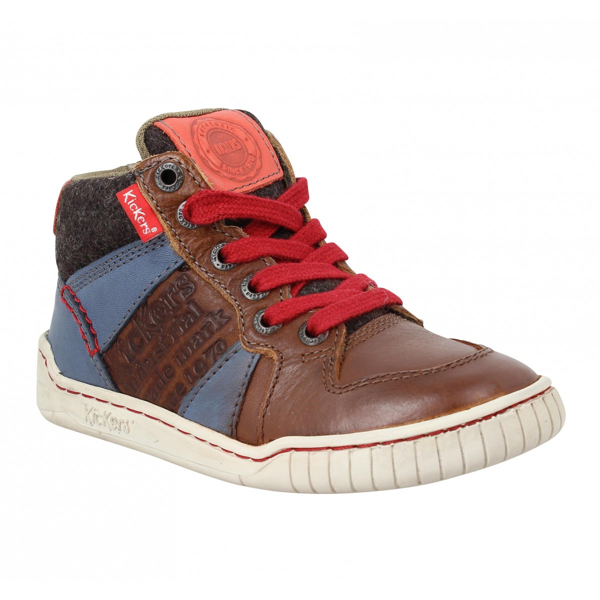 Baskets KICKERS Wazabi cuir Enfant Marron