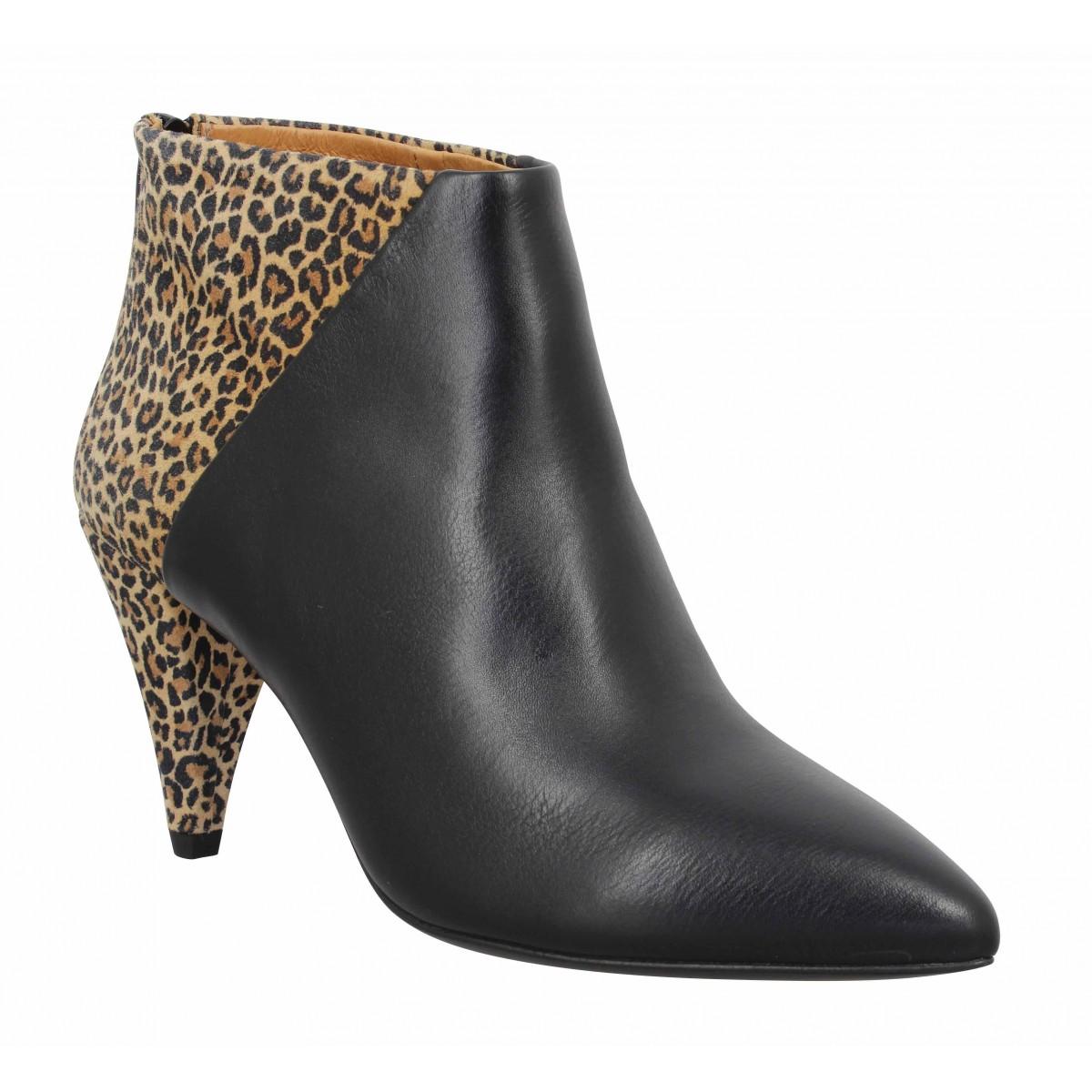 Bottines KMASSALIA Alice cuir Femme Noir Leopard