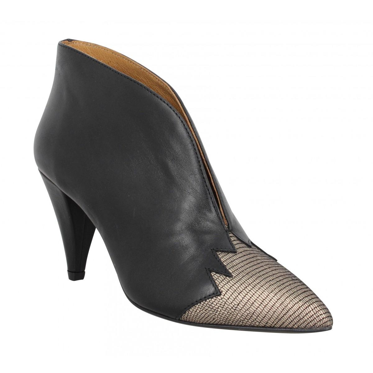 Bottines KMASSALIA Nina cuir Femme Noir Iron