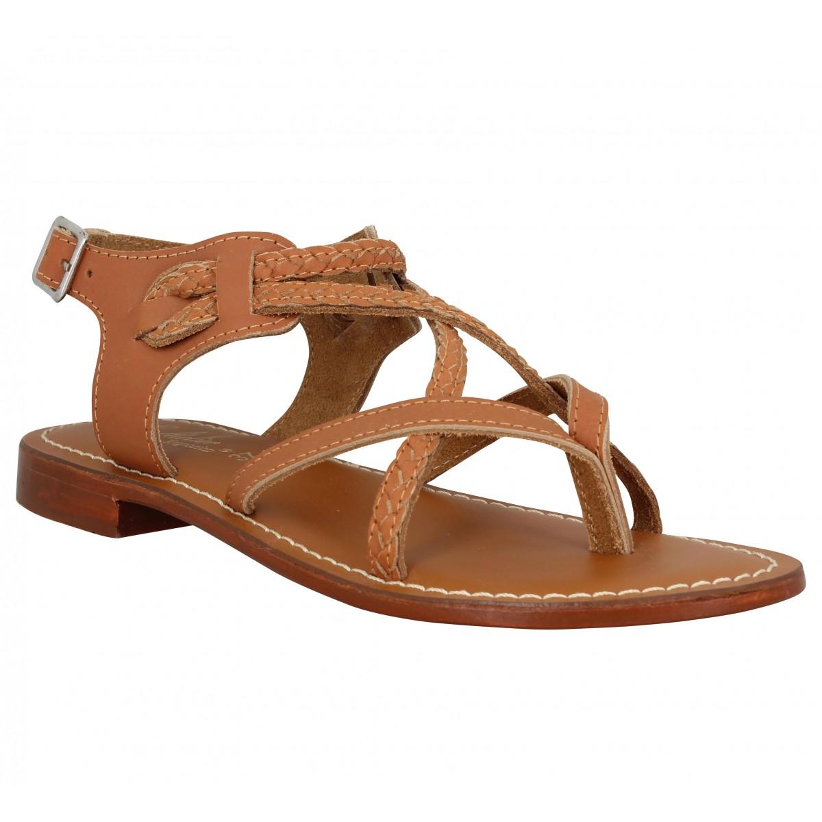 Nu-pieds L'ATELIER TROPEZIEN SH601 cuir Femme Tan