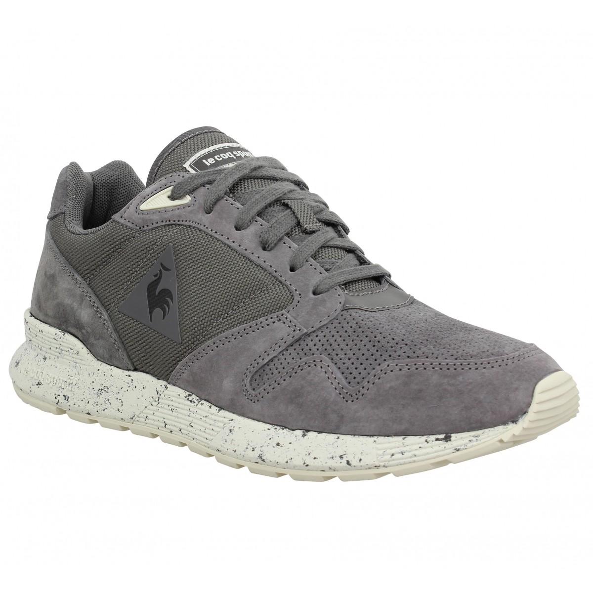 le coq sportif omega x premium velours homme gris homme fanny chaussures. Black Bedroom Furniture Sets. Home Design Ideas