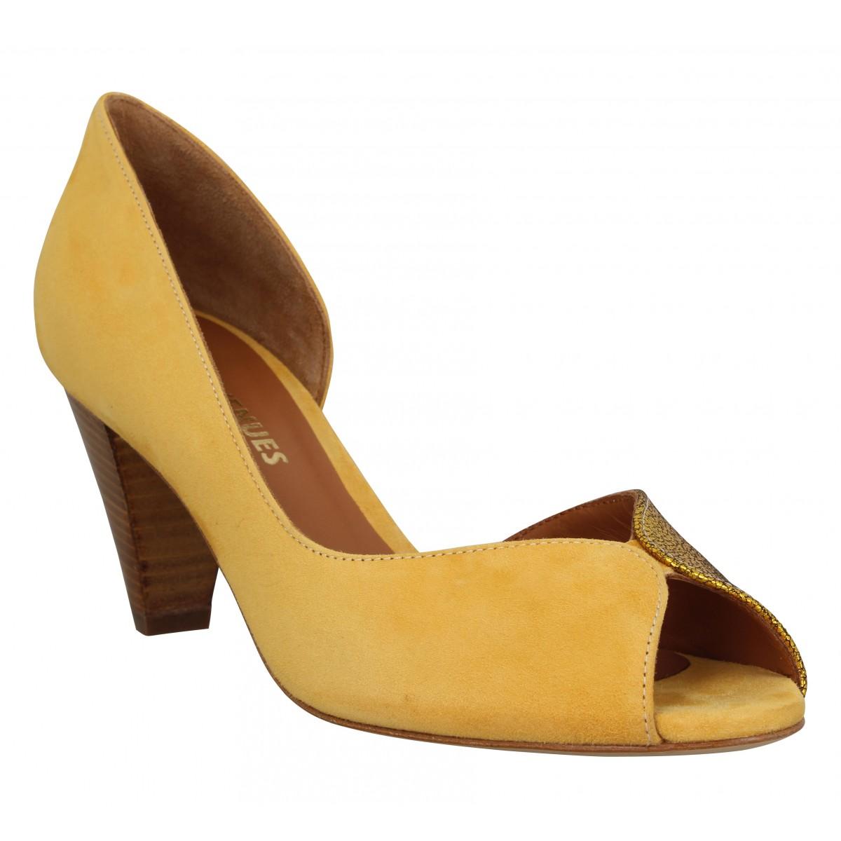 Sandales talons LES VENUES 364 velours Femme Jaune