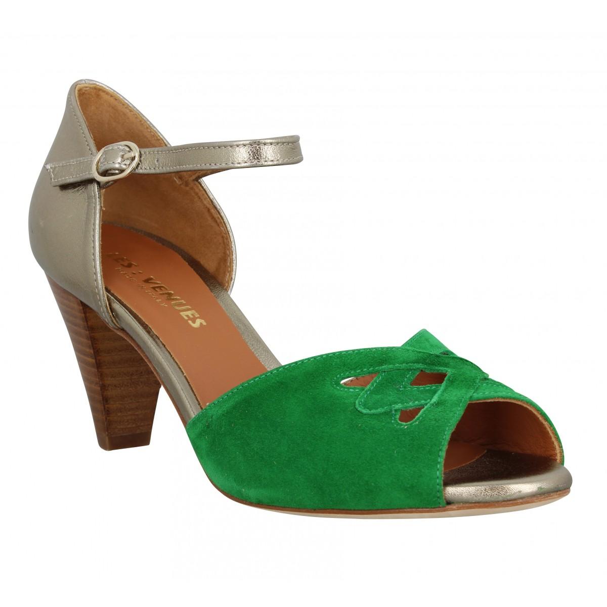 Sandales talons LES VENUES 3653 cuir velours Femme Platine Vert
