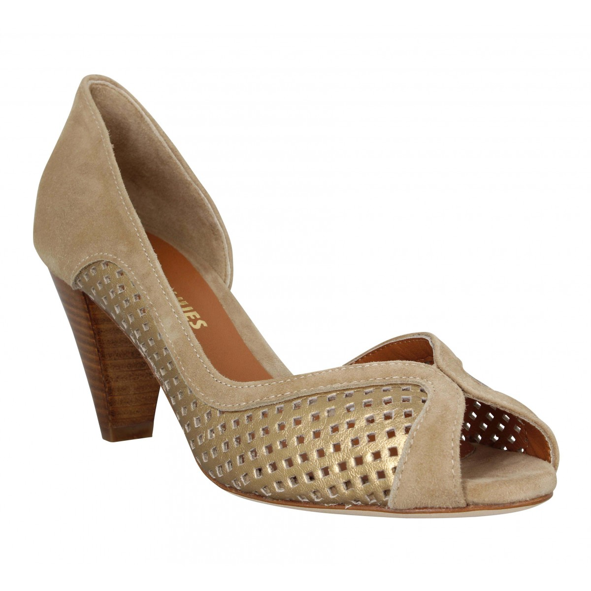 Sandales talons LES VENUES 3655 cuir velours Femme Beige