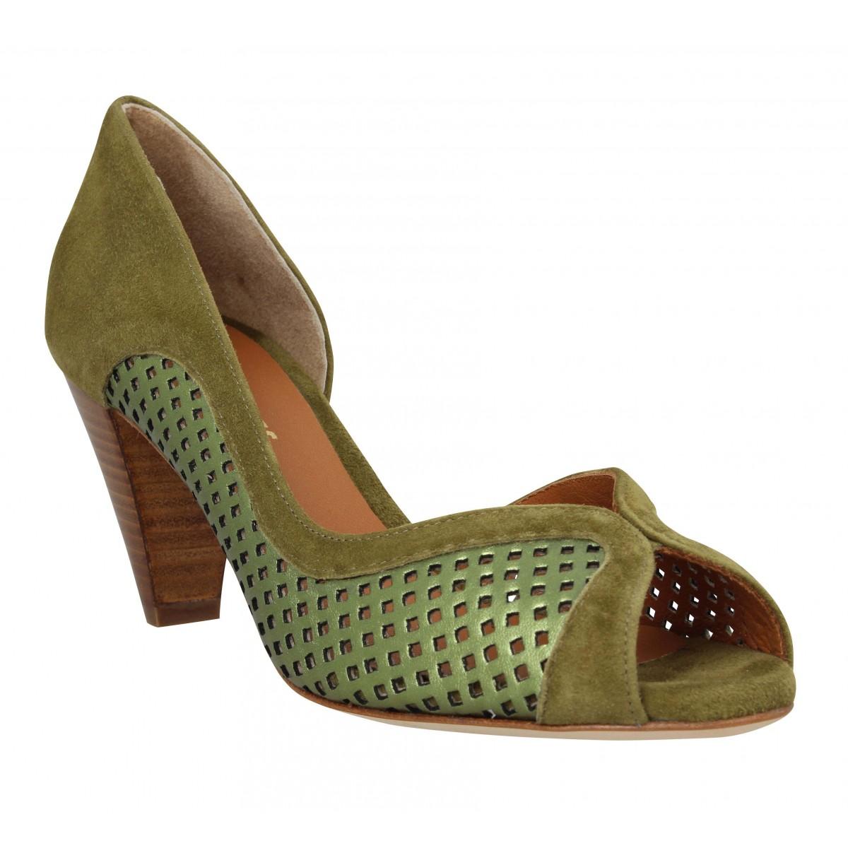 Sandales talons LES VENUES 3655 cuir velours Femme Olive