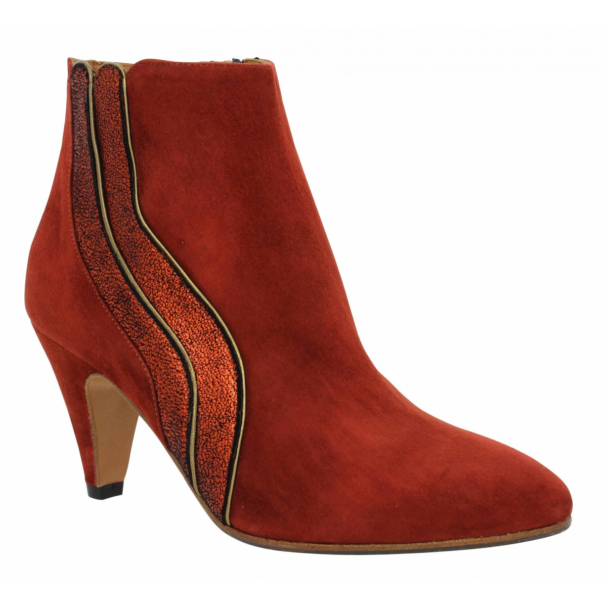 Bottines LES VENUES 462 velours Femme Rouge