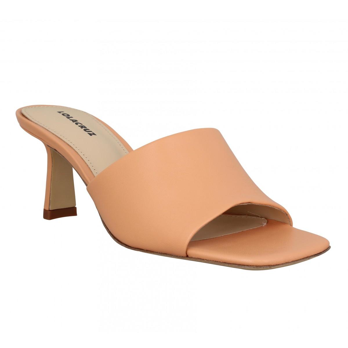 Mules LOLA CRUZ 124 cuir Femme Orange Pale
