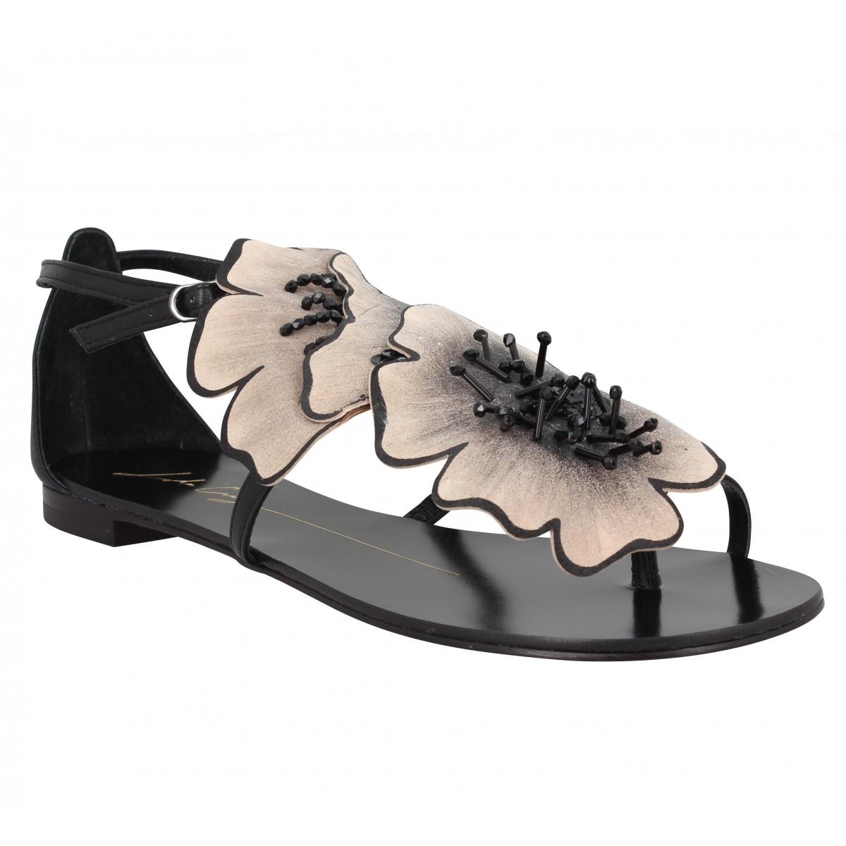Nu-pieds LOLA CRUZ 34Z Fleur cuir Femme Black