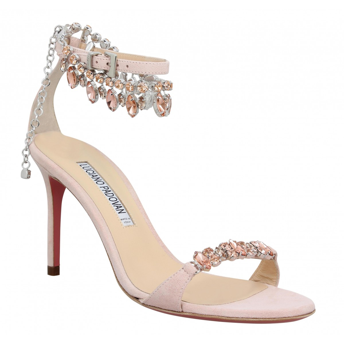 Sandales talons LUCIANO PADOVAN 255 velours Femme Rose