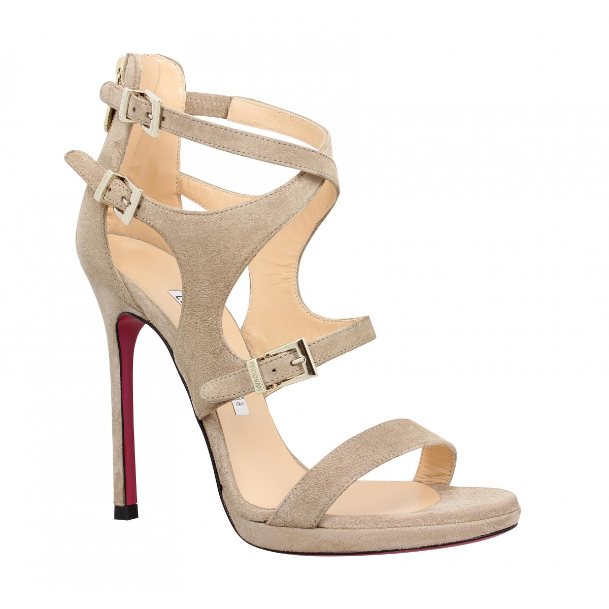 Sandales talons LUCIANO PADOVAN 802 velours Femme Taupe