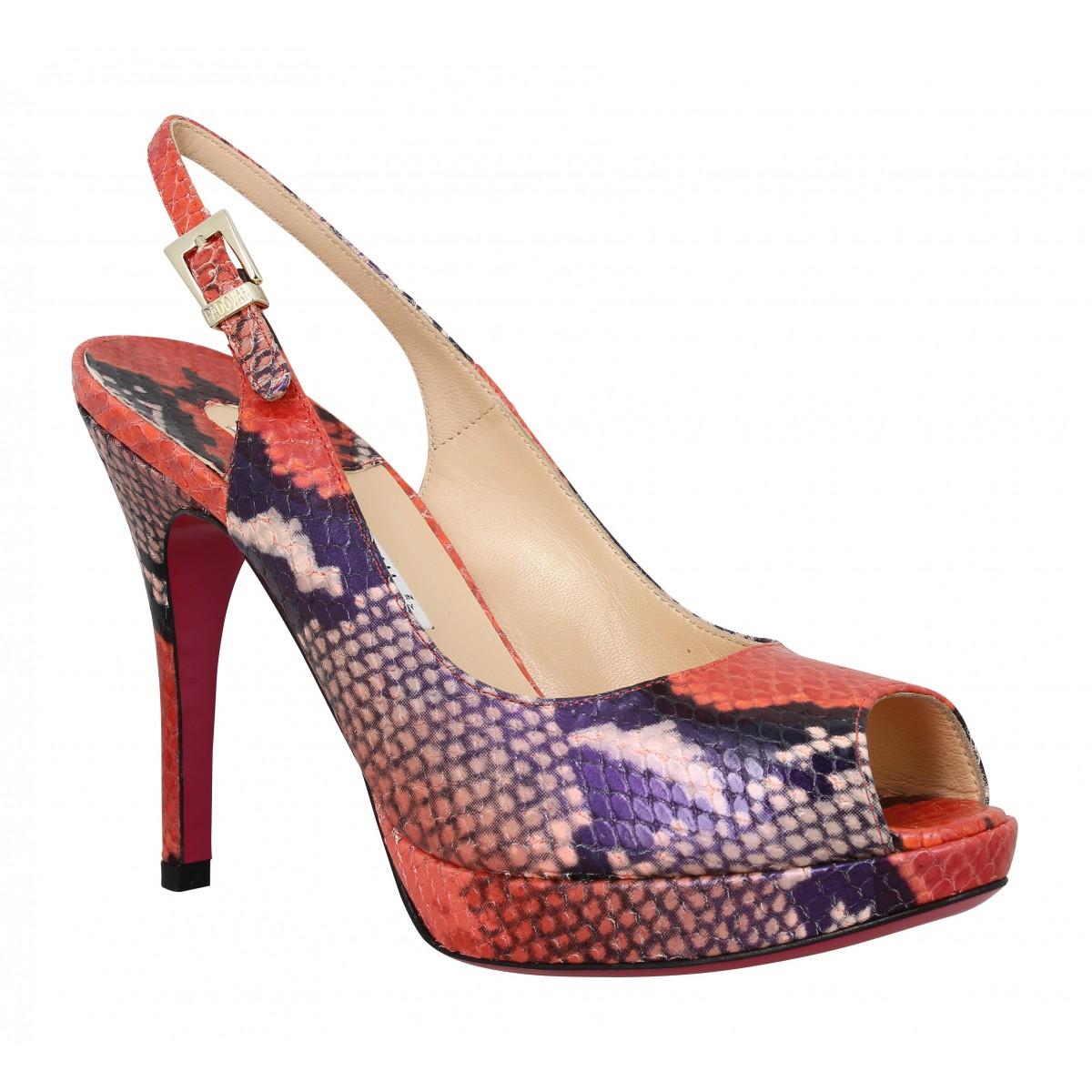 Sandales talons LUCIANO PADOVAN 838 python Femme Rouge