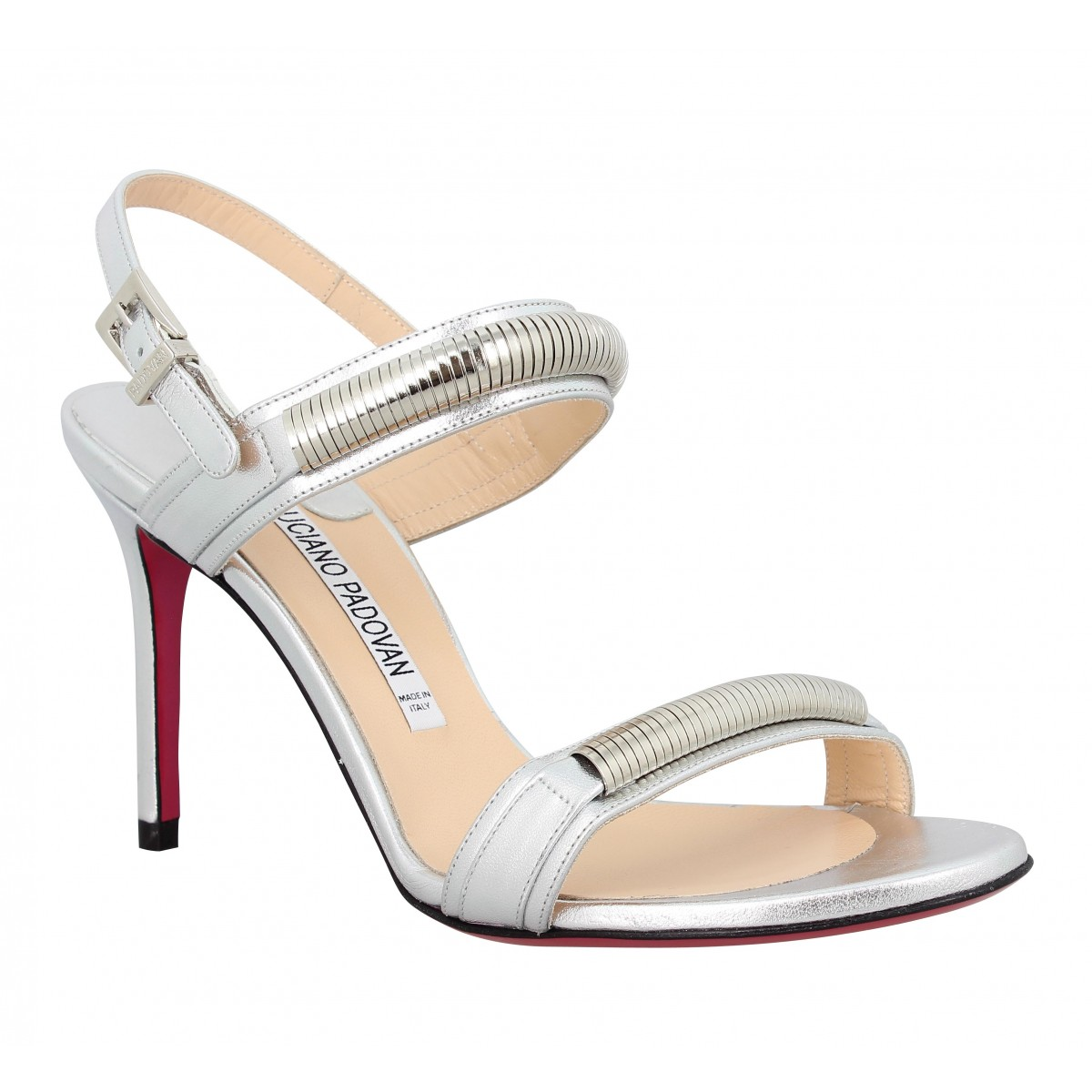 Sandales talons LUCIANO PADOVAN 846 cuir Femme Argent