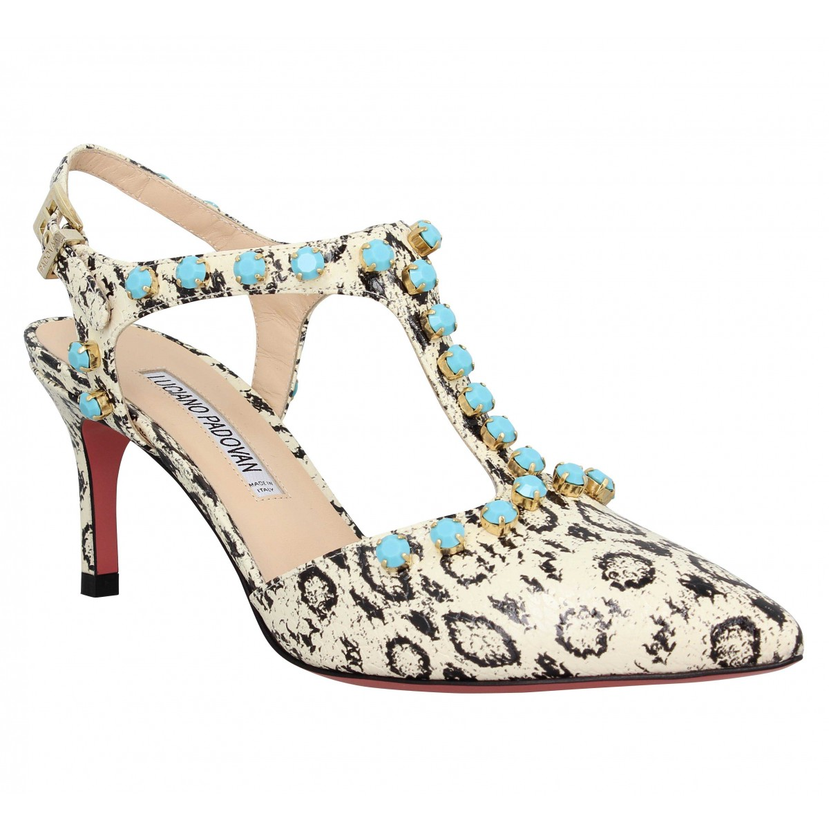 Sandales talons LUCIANO PADOVAN 938 python Femme Ivoire