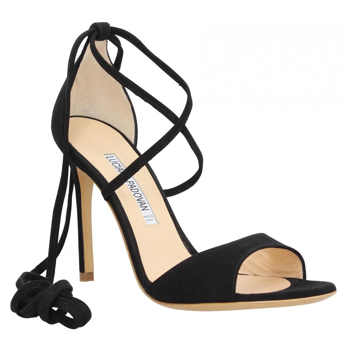 Sandales talons LUCIANO PADOVAN Mirand velours Femme Noir
