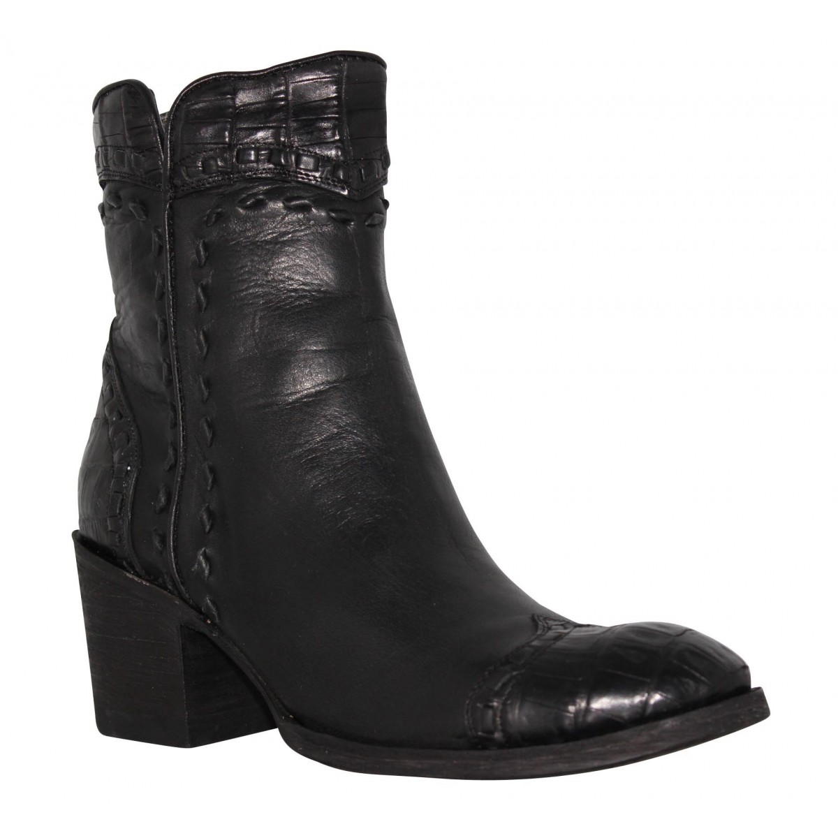 Bottines MEXICANA Crithier cuir + cayman Femme Noir