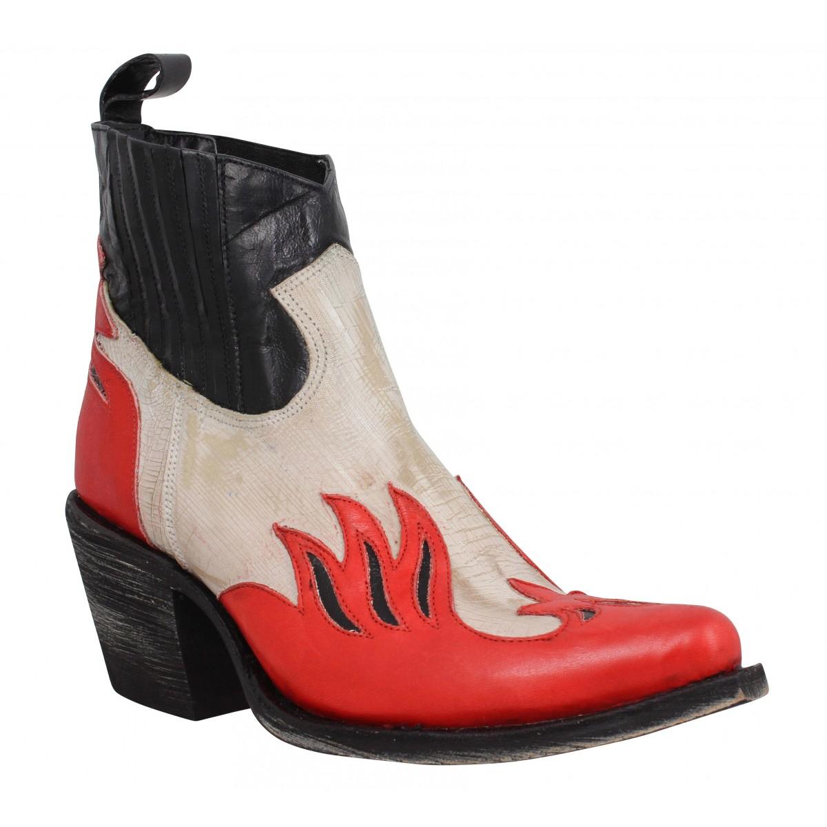 Bottines MEXICANA Dandy Bone cuir Femme Black Red