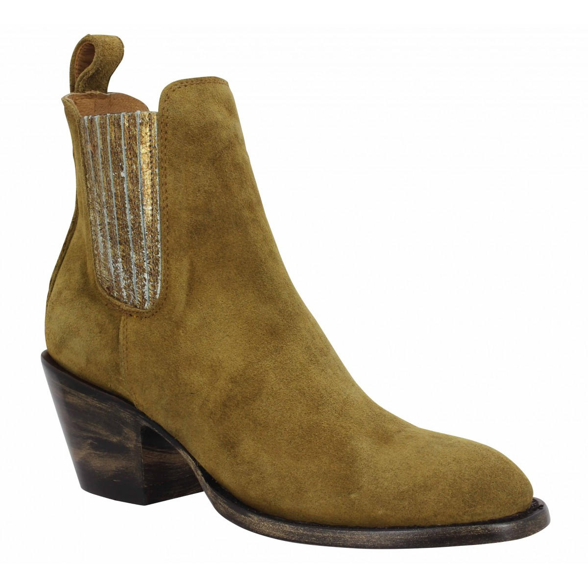 Bottines MEXICANA Estudio velours Femme Camel
