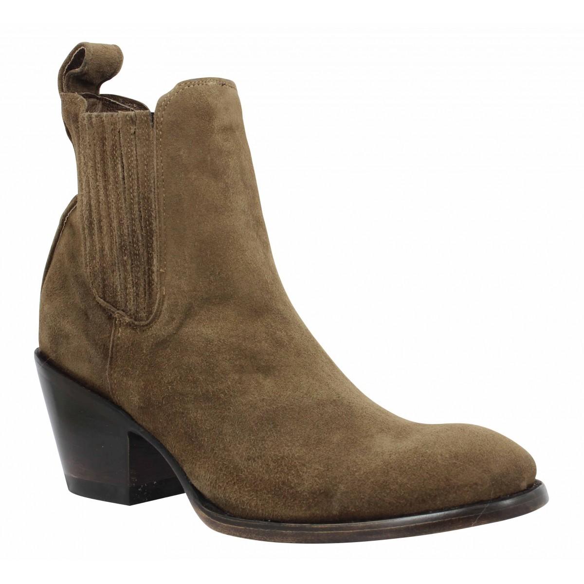 marron velours femme chaussures femme estudio Fanny Mexicana wTq1RR
