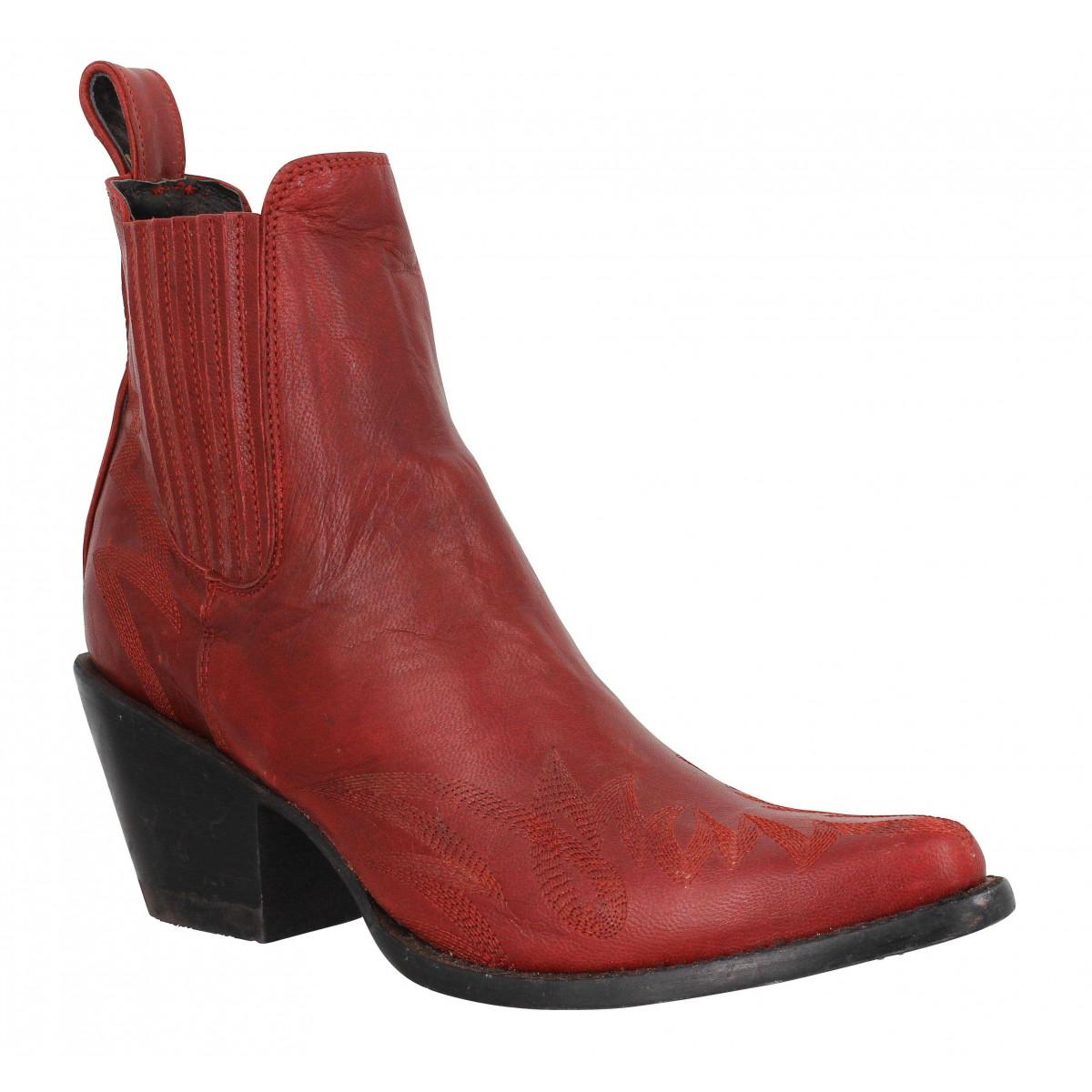 Bottes MEXICANA Gaucho Long Stitch cuir Femme Fire Red