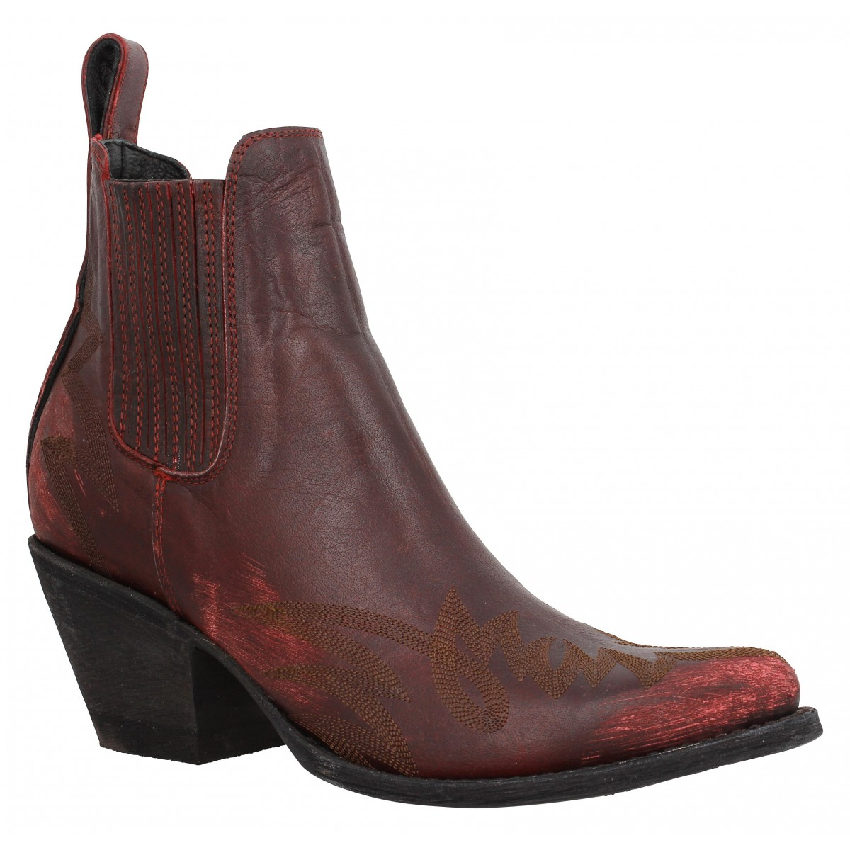 Bottes MEXICANA Gaucho Long Stitch cuir Femme Rouge