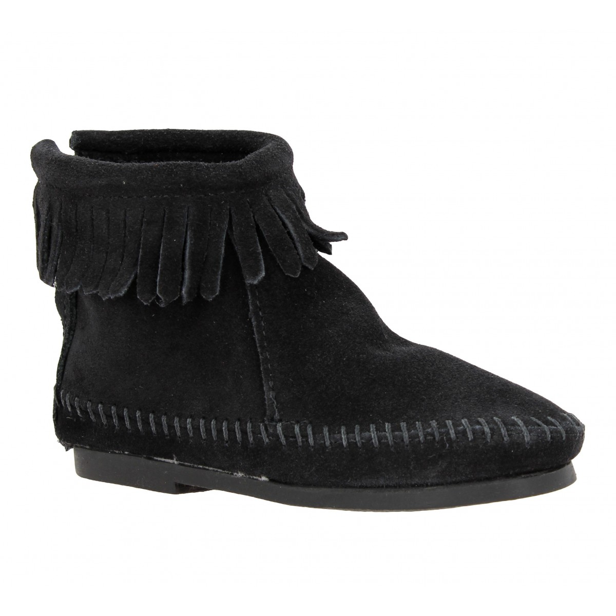 Bottines MINNETONKA Back Zipper Boot velours Enfant Noir