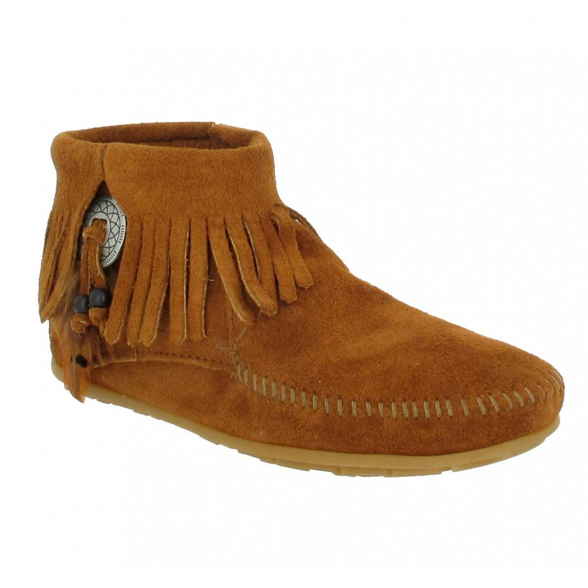 Bottines MINNETONKA Concho velours Femme Marron