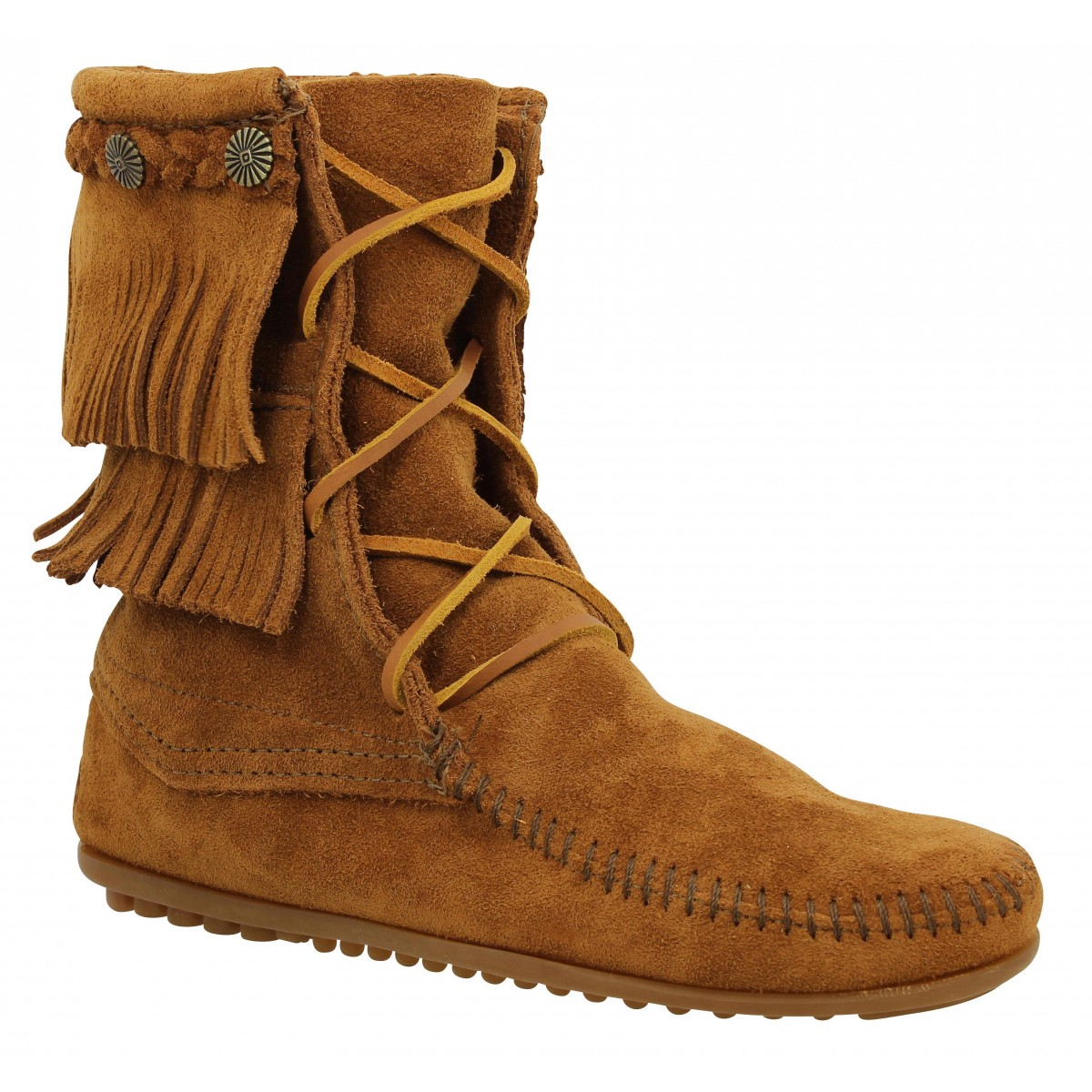 Bottines MINNETONKA Double Fringe Tramper velours Femme Marron
