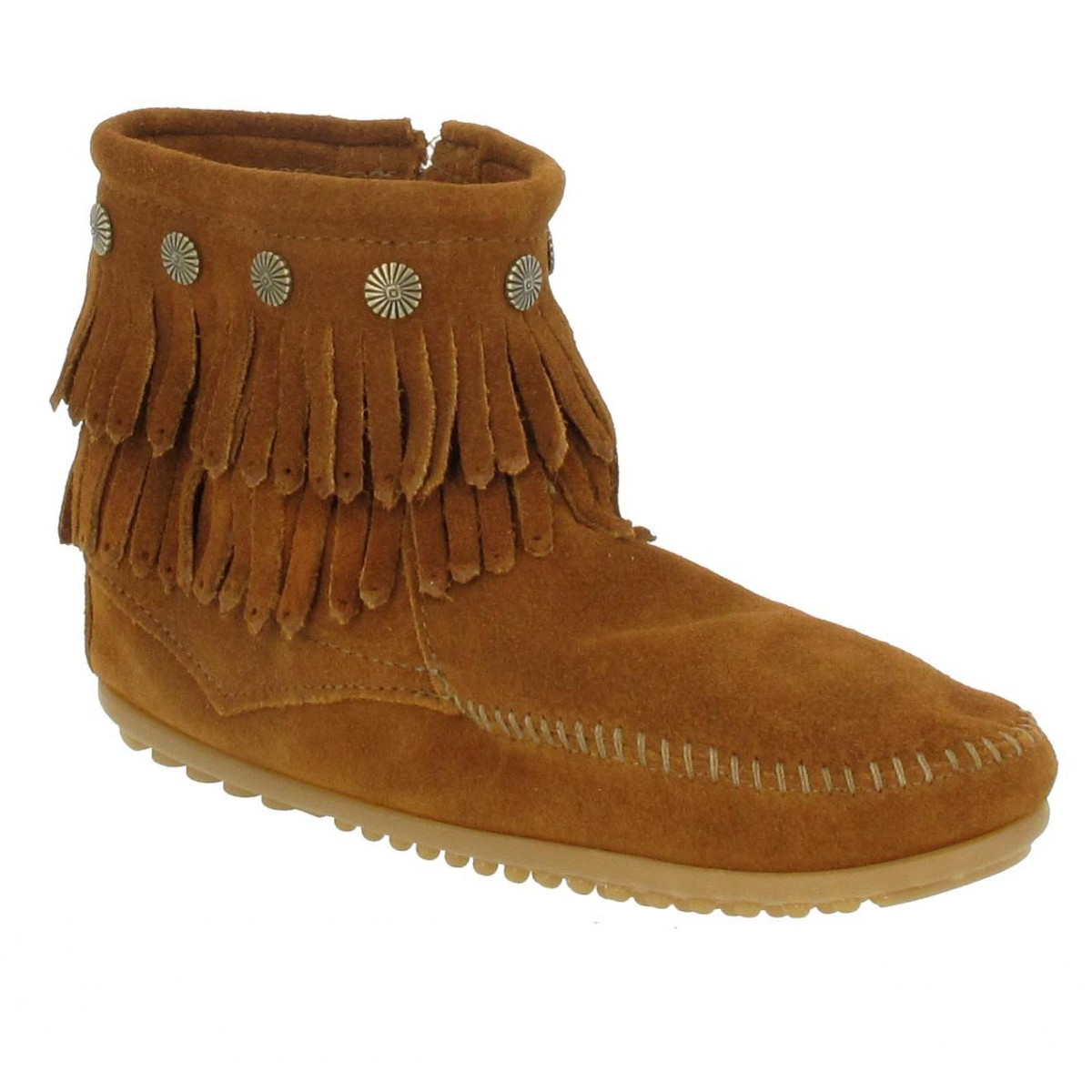 Bottines MINNETONKA Double Fringe velours Femme Marron
