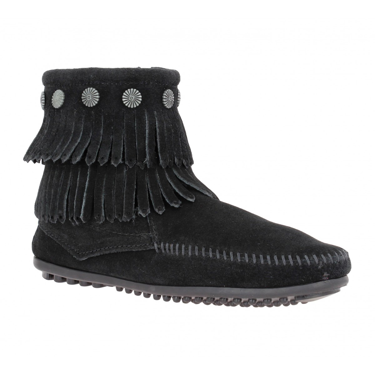 Bottines MINNETONKA Double Fringe velours Femme Noir