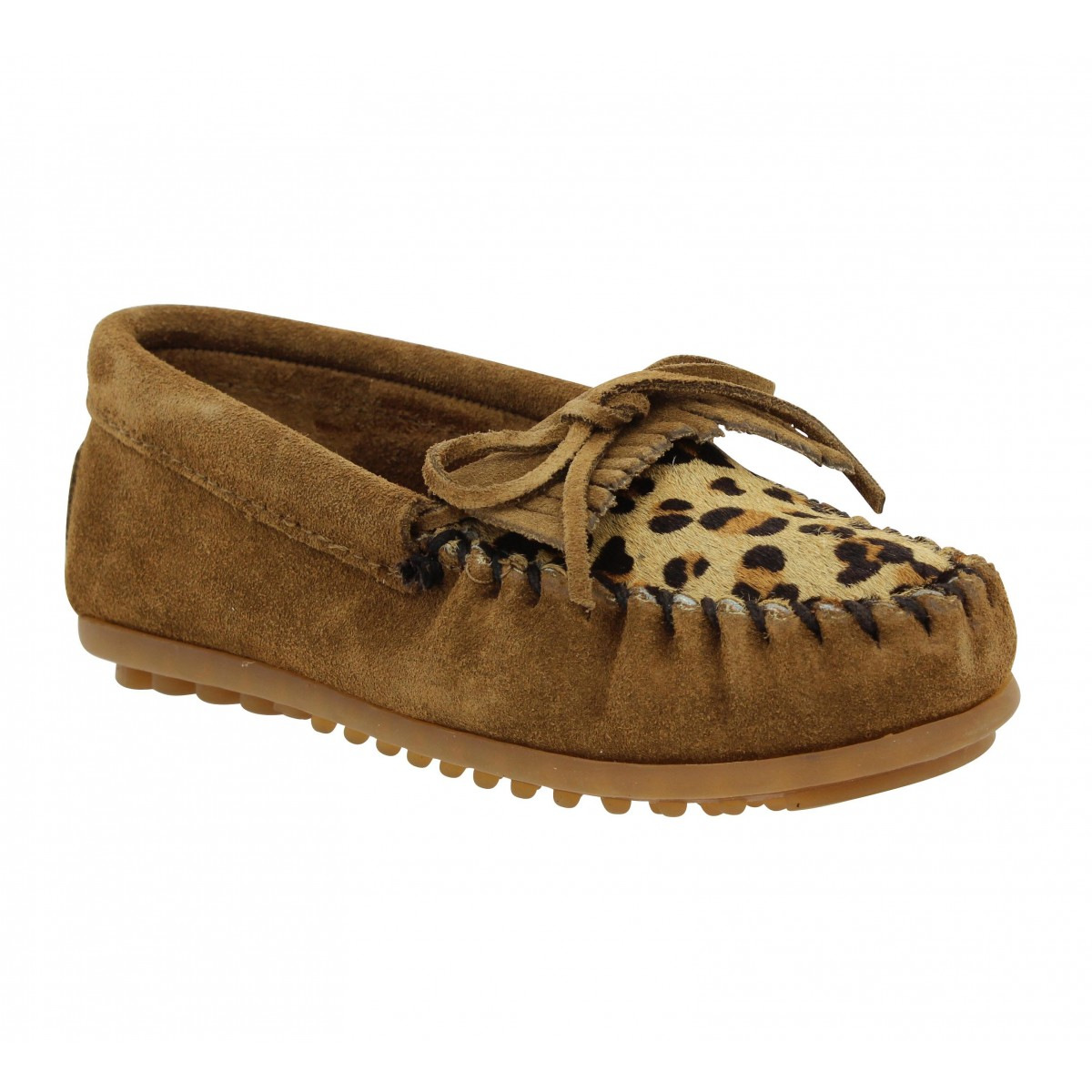 Mocassins MINNETONKA Kilty velours + leopard Enfant Marron