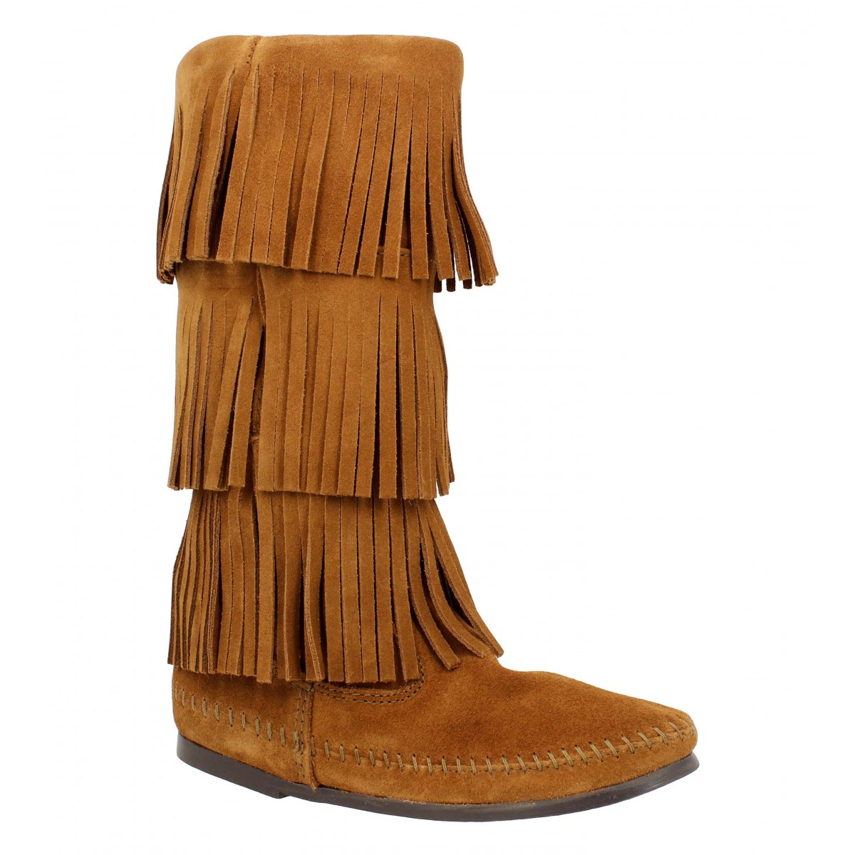 Bottes MINNETONKA Layer Fringe velours Femme Marron