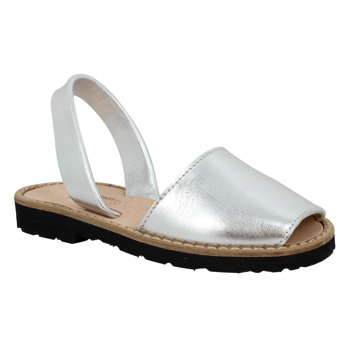 Sandales MINORQUINES Avarca cuir Enfant Argent