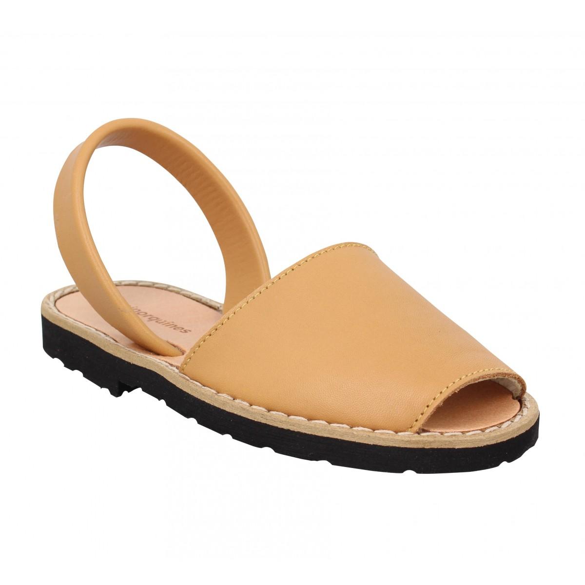 Sandales MINORQUINES Avarca cuir Enfant Naturel