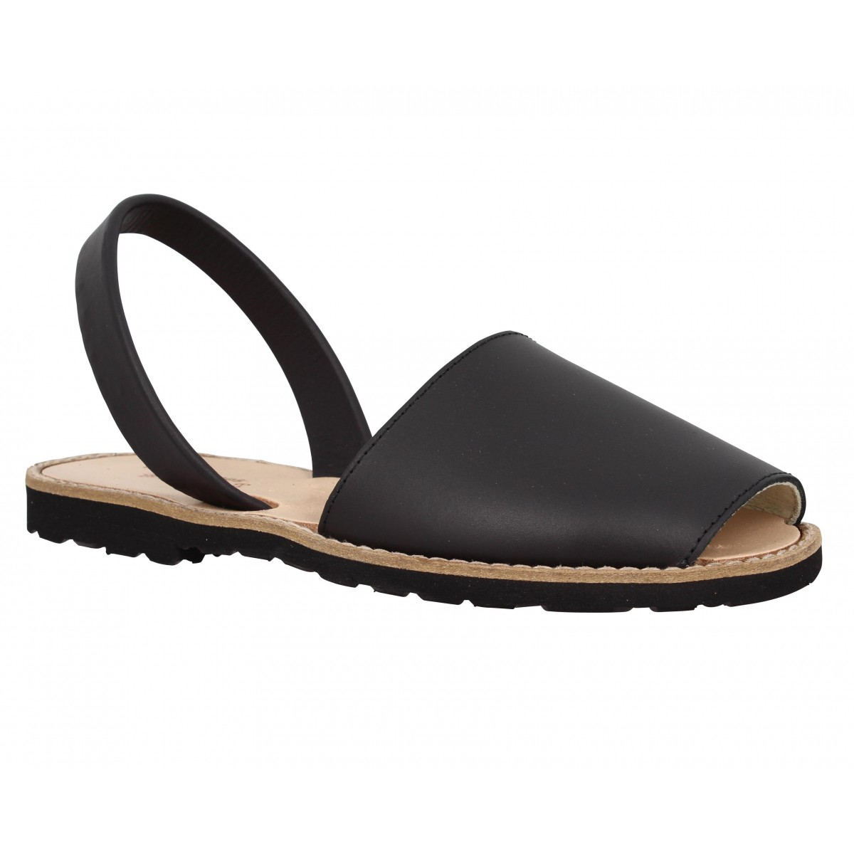 Nu-pieds MINORQUINES Avarca cuir Femme Noir