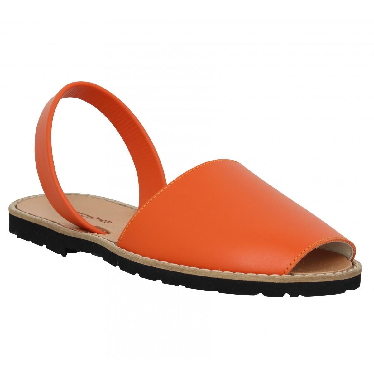 Minorquines Femme Avarca Cuir -36-orange